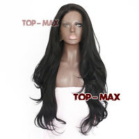 Ladies Black 26 Inches Wavy Heat Resistant Hair Women Lace Front Wig
