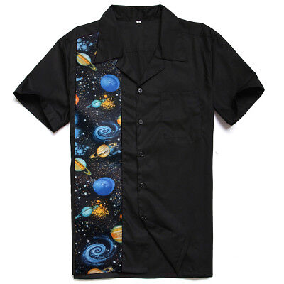 Mens Rockabilly Black Casual Shirt With Space Printing Panel Resort Wear