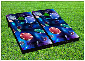 CORNHOLE-BEANBAG-TOSS-GAME-w-Bags-Game-Boards-Poker-Chips-Casino-Blue-Set-968
