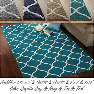 Attractive abstract tile area or runner rug geometric for Navy and teal rug