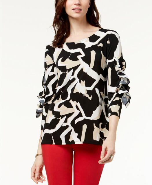 Alfani Ruffled-Sleeve Top MSRP $69.50 Size L # 5B 455 NEW