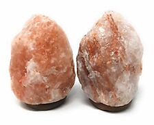 Set of 2 Natural Himalayan Rock Salt Lamps with Wood Base - 5-7 inches / 6-8 lbs