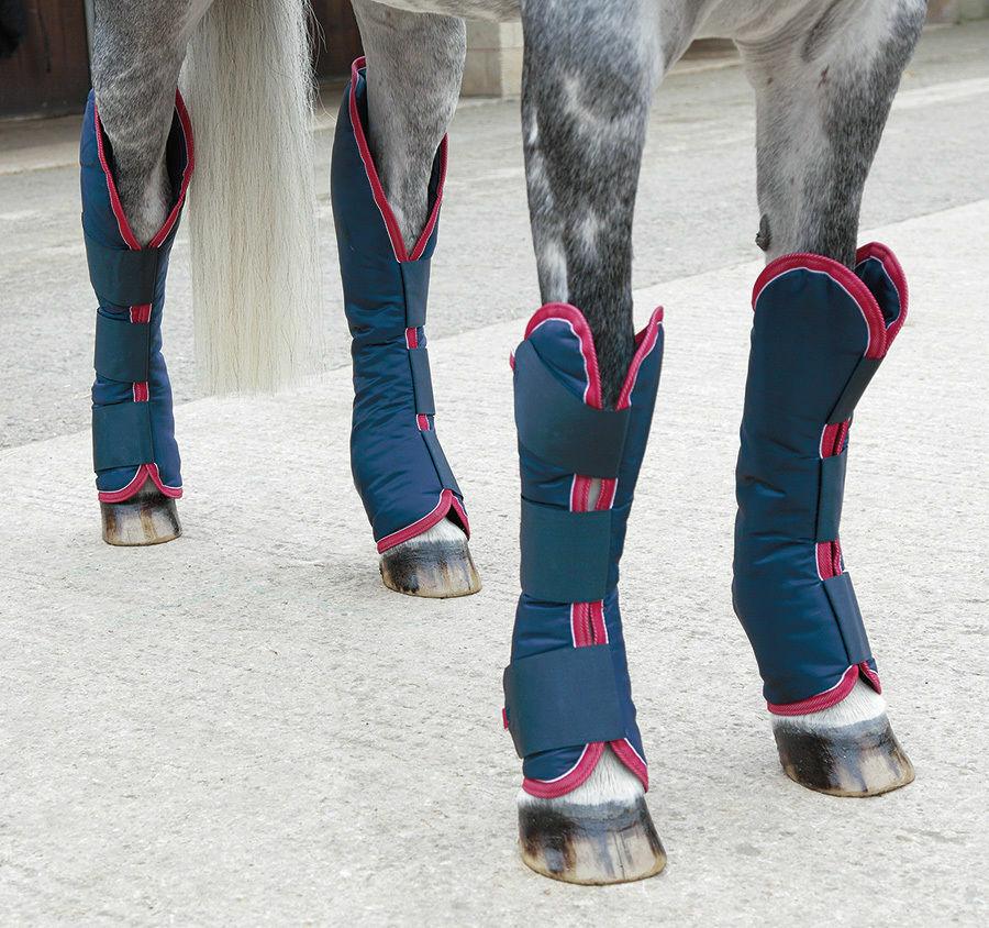 Shires Shaped Padded Travel Horse Boots - Set of 4  Navy - Pony, Cob Full