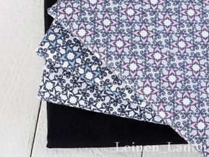 0,5 M retro vintage roses noir sur blanc 100/% Coton Tissu