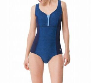 Speedo-Womens-Swimwear-Blue-Size-8-Heather-Texture-Touchback-One-Piece-88-932