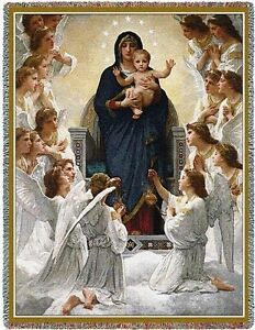 Mother-Mary-Baby-Jesus-amp-Angels-Woven-Art-Tapestry-Throw-6453-T-Made-in-USA
