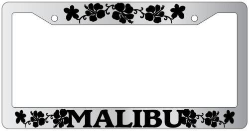 Chrome License Plate Frame MALIBU HIBISCUS Auto Accessory