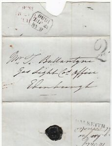 1836-DALKEITH-amp-HANDSTRUCK-2-PMKS-WRAPPER-gt-EDINBURGH-GAS-LIGHT-Co-T-BALLANTYNE