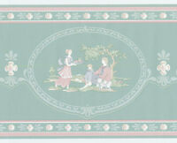 Cameo Victorian Life Scenic Toile Romantic Green Teal Pink Wall Border Wallpaper