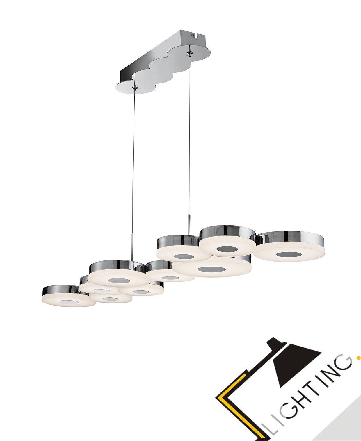 Moderne 10-flammige Pendelleuchte Hängeleuchte Lampe Luster Leuchte  Chrom  LED
