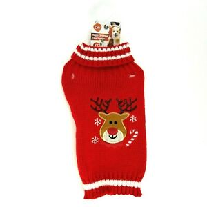 Pet Puppy Dog XS Red Nose Reindeer Christmas Winter Sweater