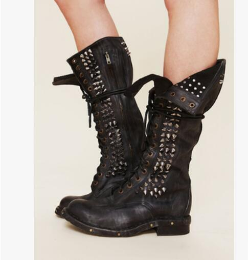 Punk Donna Real Leather Rivet Punk Mid Calf Motorcycle Boots Lace Up Stud Shoes