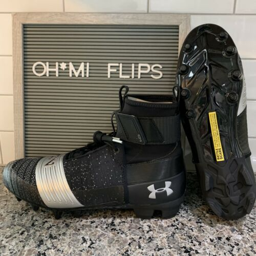 3000175-001 Size 10.5 Details about  /Under Armour C1N MC Football Cleat Black Silver Cam Newton