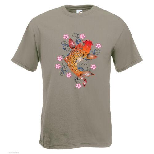 Koi Fish Flowers Mens PRINTED T-SHIRT Wildlife Animal Japanese Swim