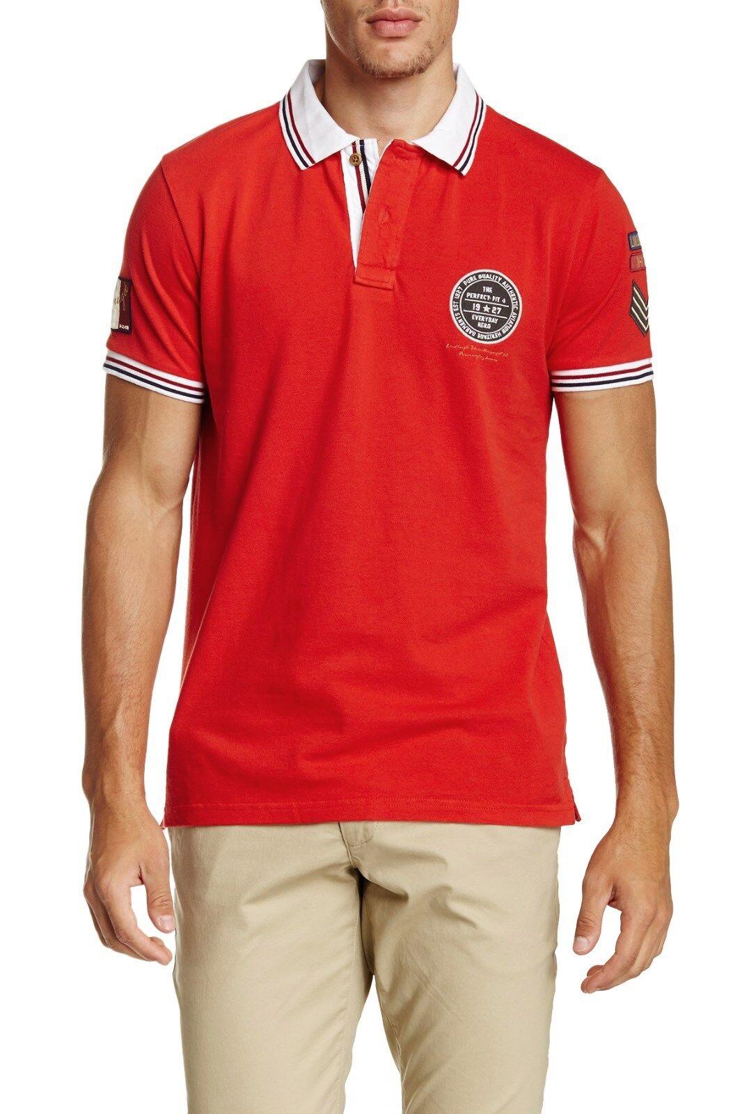 LINDBERGH Red Short Sleeve Contrast Trim Pique Cotton Polo Shirt  Sz.XXL  NWT