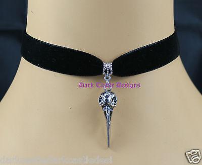 Goth Black Velvet Choker Necklace Raven Crow Poe Pendant Wicca Pagan Cult Skull