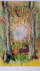 Details about Original Spray Paint Art - Forest in fall \14in x 22,4in /  Poster board