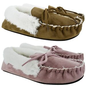 LADIES WOMENS FAUX SUEDE FUR LINED WARM SOFY MOCCASIN SLIPPERS SHOES ... c0ab505d6b