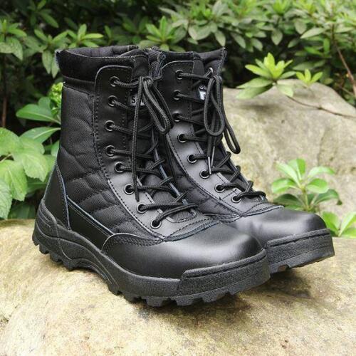 Homme Militaire High Top Lace Up Zip tactique randonnée outdoor Desert Work Boot Shoe