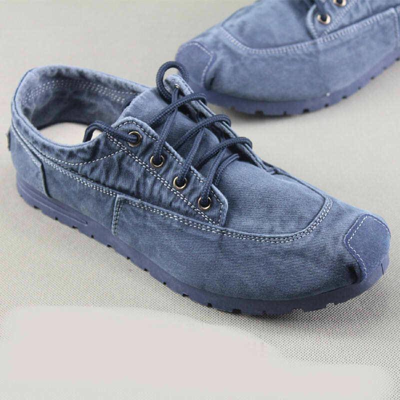 Mens Denim Loafers Breathable Lace Up Sneakers tennis Driving shoes