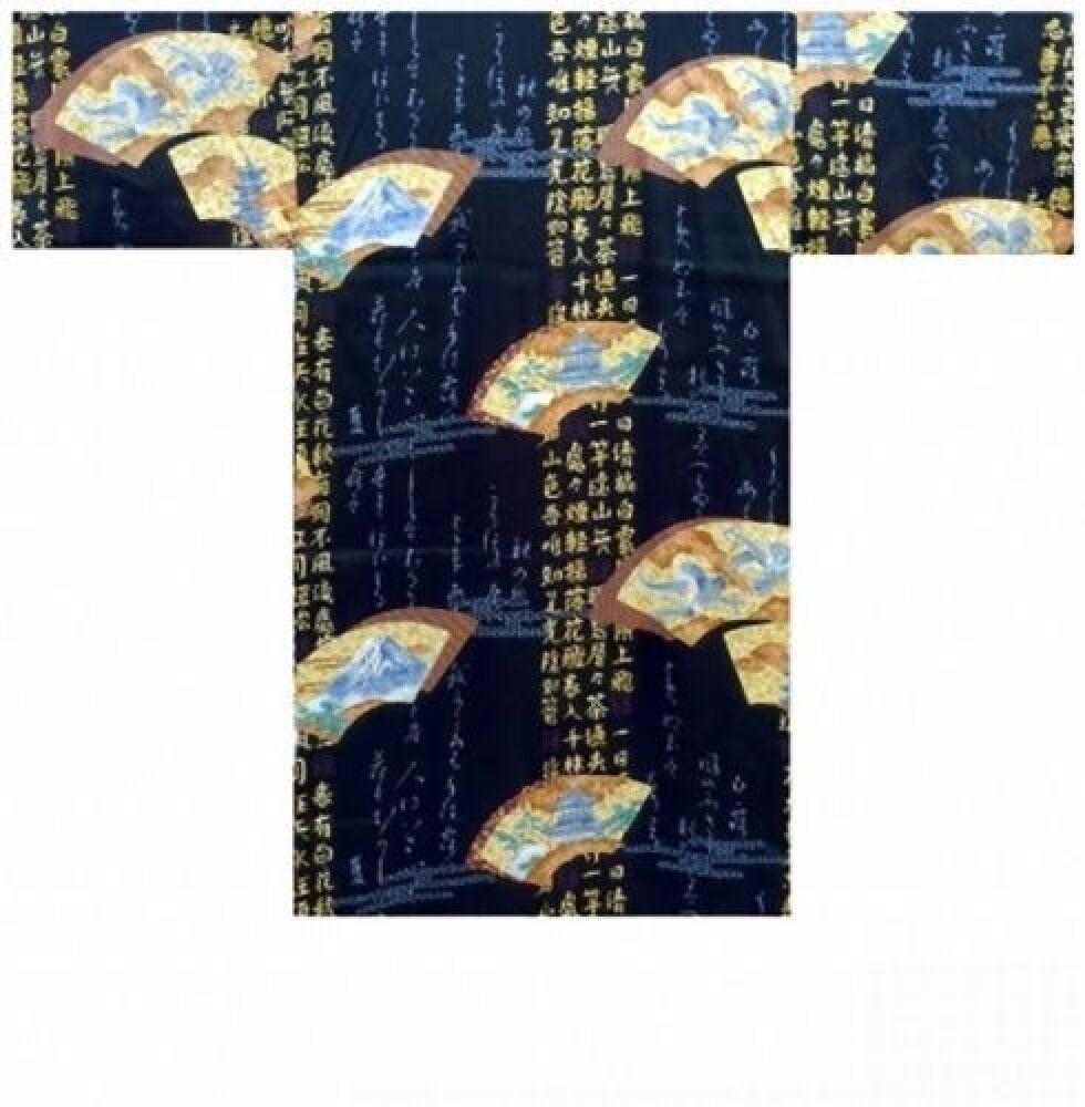 MEN's SILK HAPPI(folding fans) &Obi Short KIMONO Matsuri Authentic JAPAN SHM942