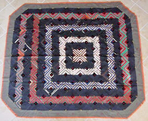 GRAPHIC-SILK-LOG-CABIN-ANTIQUE-QUILT-GREAT-GRAPHICS