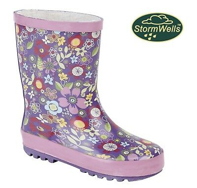 GIRLS BOW WELLINGTON BOOTS Navy Pink Spotty Welly Size 4 5 6 7 8 9 10 11 12 13 1