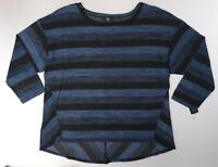 Agb Womens Plus Size 3x Light Knit Color Block Striped Sweater Top