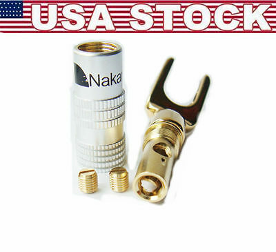 4 Nakamich Gold Plated Screw Spade Banana Plug Connector 4mm Speaker Wire Cable