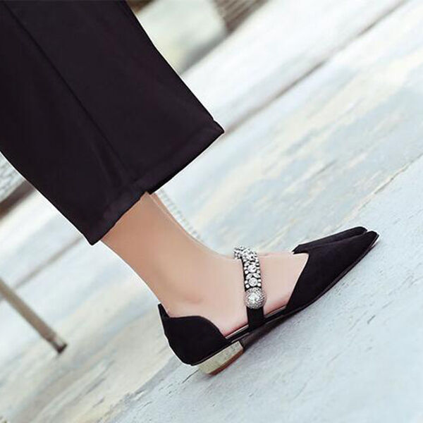 frauenSandaleeen flachem absatz 3 cm ballerinaschuhe strass schwarz komfortabel