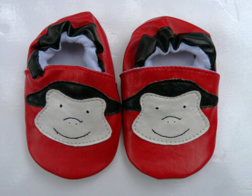 BRAND NEW PAIR OF SMALL PEEKABOOT RED CHEEKYMONKEY LEATHER SLIP ON BABY SHOES