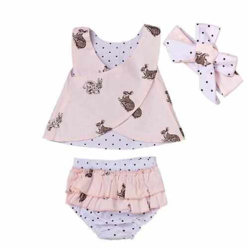 3PCS Toddler Baby Kids Girl Clothing Tops Summer Top Bunny Sleeveless Shorts Bot