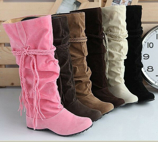 Fashion Women's Suede Popular Fringed Tip High Boots Casual 6 color Plus Size