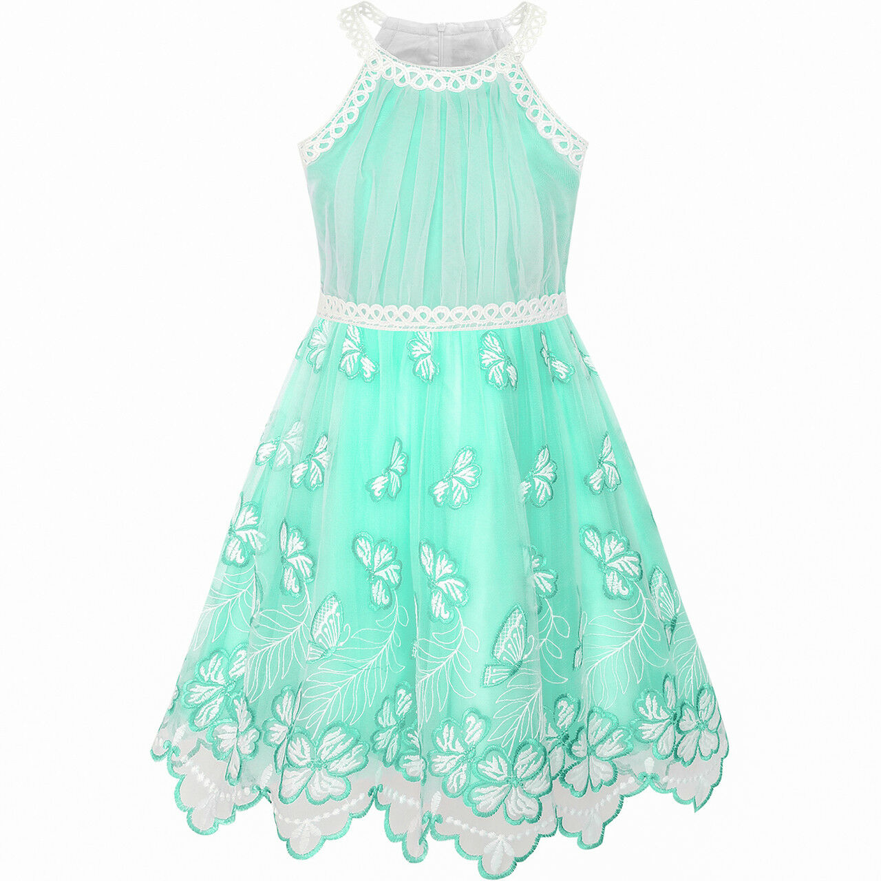 Girls Dress Turquoise Butterfly Embroidered Halter Dress Party Size ...