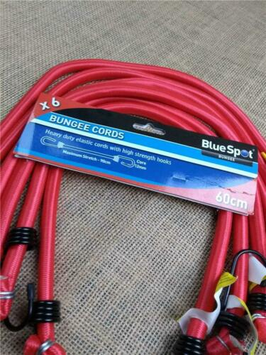 CLEARANCE LOT A420 PACK OF 6 BUNGEE CORDS 600MM LONG 12MM THICK WITH HOOK CAPS