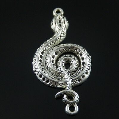 37771 Vintage Silver Tone Alloy Snake Charm Connector Jewelry Finding Hot 15pcs