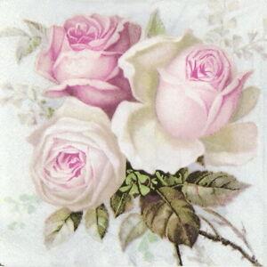 4x Paper Napkins for Decoupage Craft Sagen Vintage Big Roses | eBay