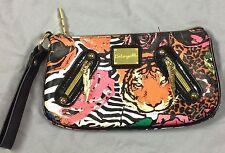 Betseyville Clutch By Betsey Johnson Wristlet Tiger Zebra Rose Lightning Bolt