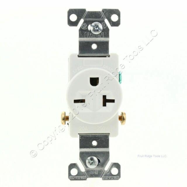 Leviton Black Commercial Short Strap Single Receptacle Outlet 15A Bulk 5258-SS