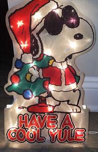 "PEANUTS Snoopy Joe Cool 15"" LIGHTED Window DECOR PRE-LIT CHRISTMAS Cool Yule Box"