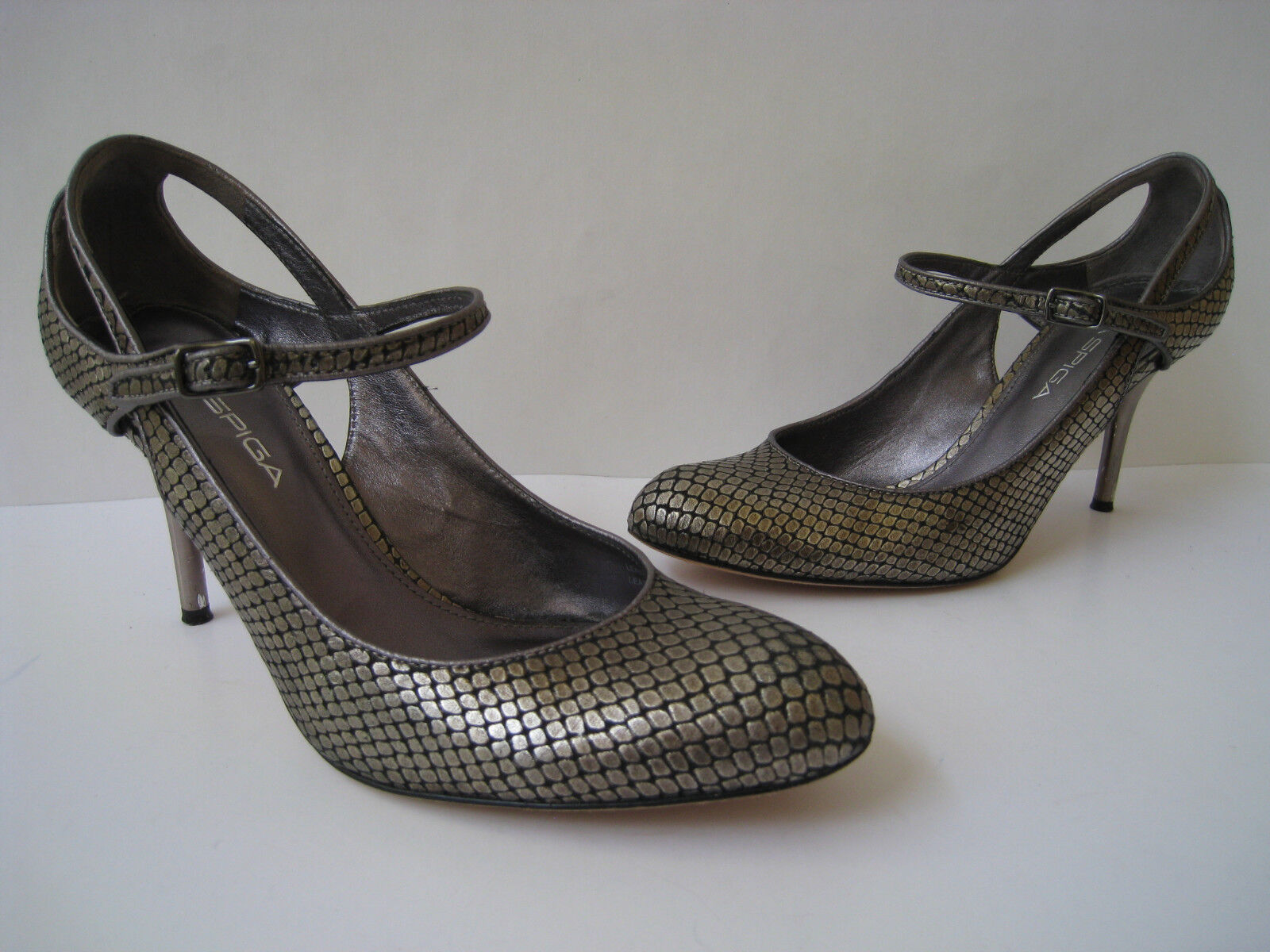 VIA SPIGA SNAKE EMBOSSED METALLIC LEATHER 3