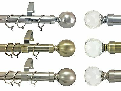 28mm Metal Double Curtain Pole Crystal Finial Polished /& Brushed Chrome Brass