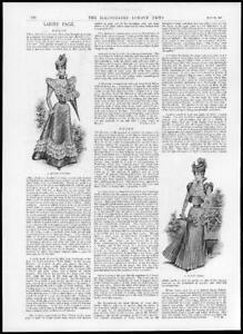 1897-Antique-Print-FASHION-Muslin-Costume-Dainty-Dress-Parasol-Lace-96