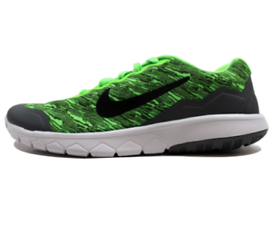 NIKE FLEX EXPERIENCE 4 PRINT (GS) KIDS 7Y ELECTRIC GREEN-CL GREY SHOES