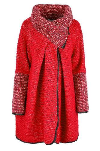 Da Donna Mix di lana italiana Lagenlook Taglie Forti Cocoon Cappotto Con Colletto Zip Giacca Top