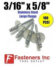 Qty-25 8-12LF 1//4 x 3//4 Grip POP Rivets Large Flange ALL Steel .626 - .750