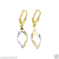 Greek Key Dangle Earrings With Lever Back Real Solid 14k Yellow White Gold
