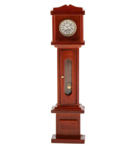 1:12 Dollhouse Miniature Living Room Vintage Wooden Grandfather Brown Clock