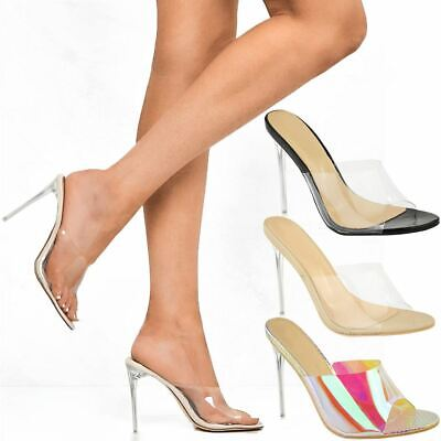 Womens Perspex Party Sandals Stiletto