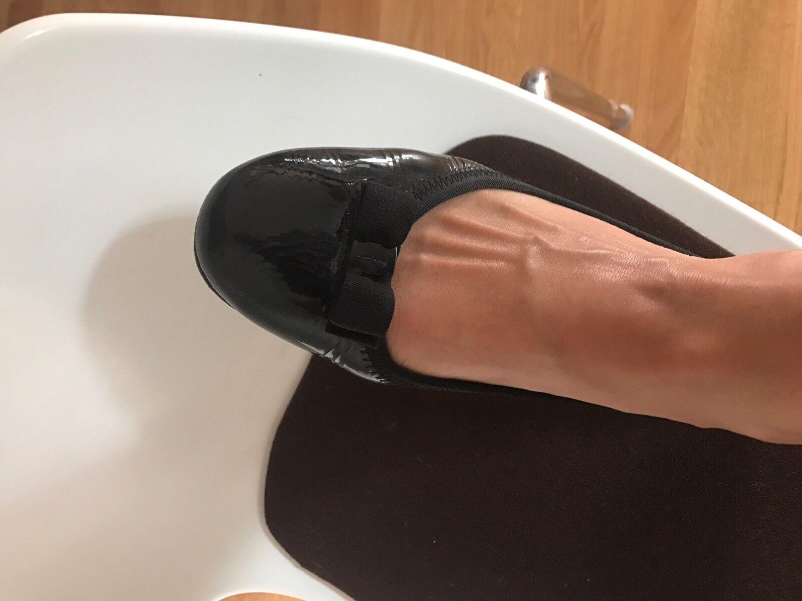 Flats de ferragamo  negro charol óptica, talla 39, poco poco poco usado, np  marca